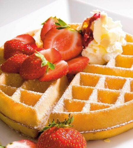 A waffle, strawberry and cream low res - Copy
